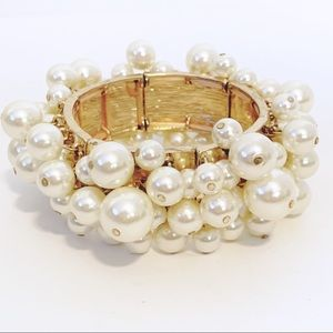 Faux Pearl Boho Cluster Chunky Bracelet Gold Tone